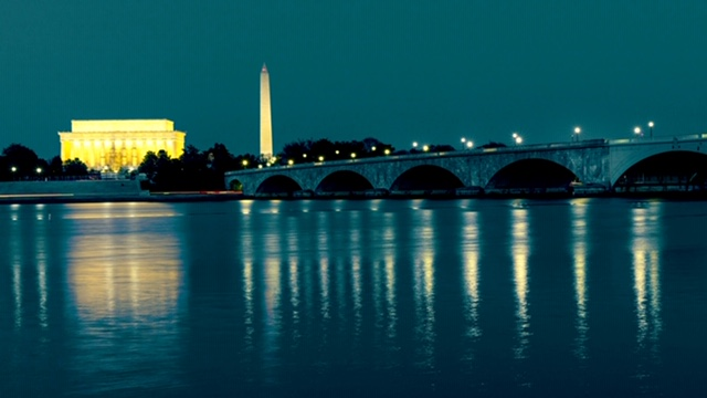 Washington DC Memorial Bridge at dusk