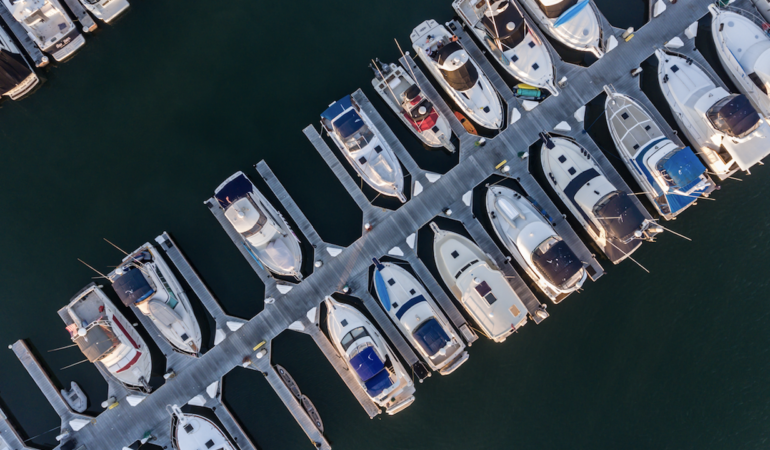 Boats moored in a marina