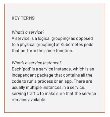 What's a service? A service is a logical grouping (as opposed to a physical grouping) of Kubernetes pods that perform the same function. What's a service instance? Each 'pod' is a service instance, which is an independent package that contains all the code to run a process or an app. There are usually multiple instances in a service, serving traffic to make sure that the service remains available.